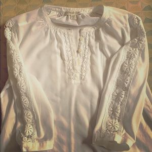 Cotton tunic with lace trims